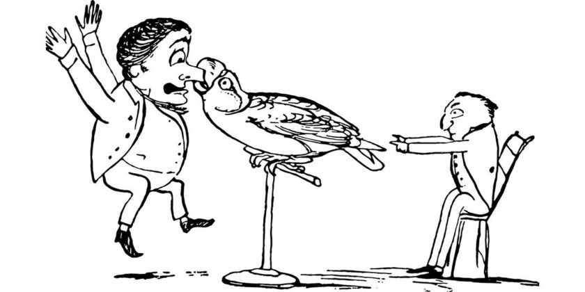 parrot biting cartoon
